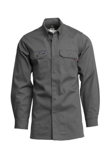 Lapco IXXX7 Mens Gry FR Long Sleeve Button Up