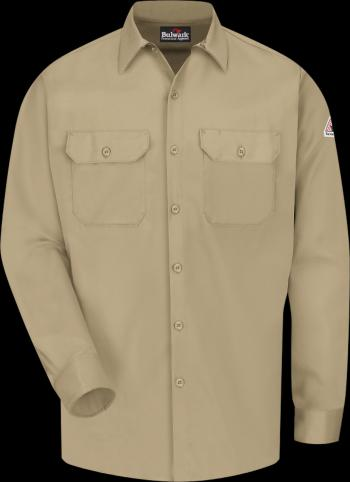 Bulwark FR SLW2 Khaki Long Sleeve Middle Weight Button Up